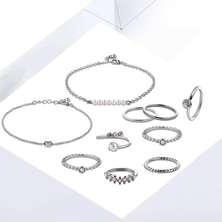 10pcs Jewelry Set Multi Shape 14/17/18/19mm Ring Unique Hand Chain Bracelet for Women Girls's Gift - image 8 of 8
