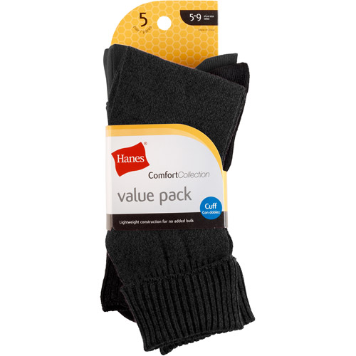 Hanes Ladies' Socks Comfort Soft Cuff 5 Pack