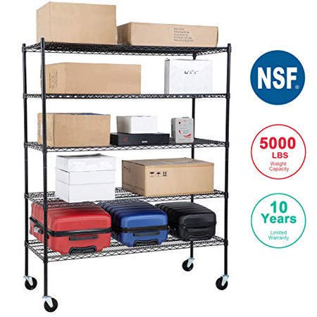 NSF Wire Shelving Unit Large Metal Shelves Organizer Wire Storage Shelves Heavy Duty 5-Tier Commercial Grade Height Adjustable Utility Rack 5000 LBS Capacity on 4 Inch Wheels 24x60x76 Inchs,Black Height 4 Shelf Audio Rack