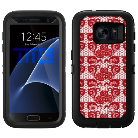 OtterBox Defender Samsung Galaxy S7 Case - Stunning Hot Red Rose Swirl Lace OtterBox Case