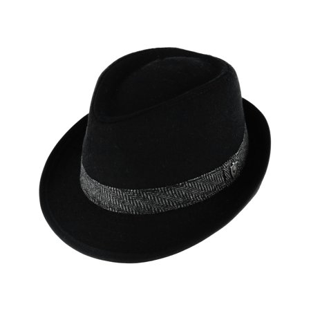 Men's Wool Blend All Season Fedora Hat with Herringbone Band](Boys Black Fedora)