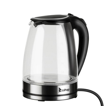 1.8L Electric Kettle Glass Stainless Steel 1500W Household Quick Heating Boiling Pot Auto Power-off Water (Best Kettle To Boil Water For Baby)