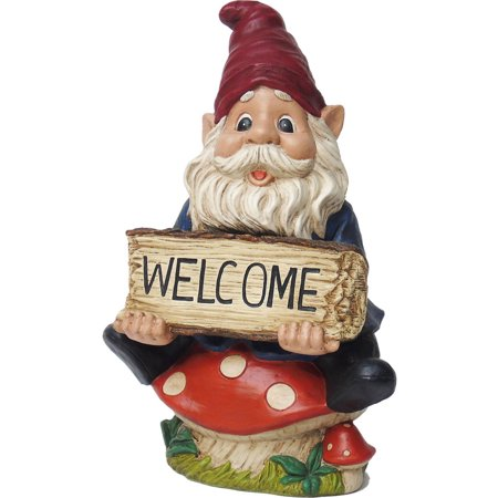 Mainstays Welcome Garden Gnome on Toadstool, Multi-Color