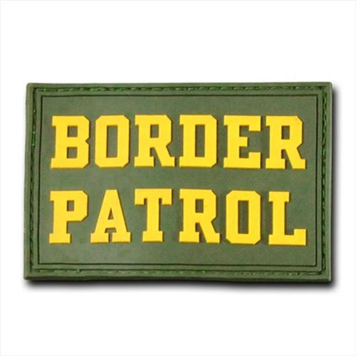 """RapDom Border Patrol Text Rubber H&L Velcro-Back Patch [2-Pack - Olive Green - 3x2""""]"""