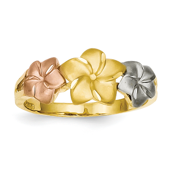 14K Tri Color Gold Tri-Color Plumeria Ring - image 2 of 2
