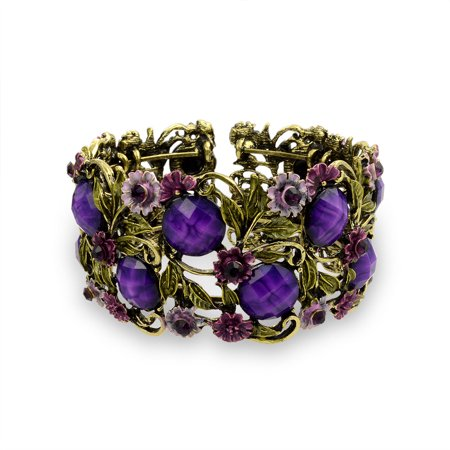 Wide Purple Crystal Flower Statement Cuff Bracelet For Women Flexible Oxidized Gold