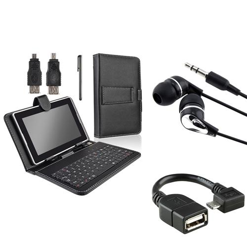 "INSTEN Universal 7"" inch Tablet Leather Case with Keyboard & Stylus Pen + Micro USB OTG to USB 2.0 Adapter + Headphone"
