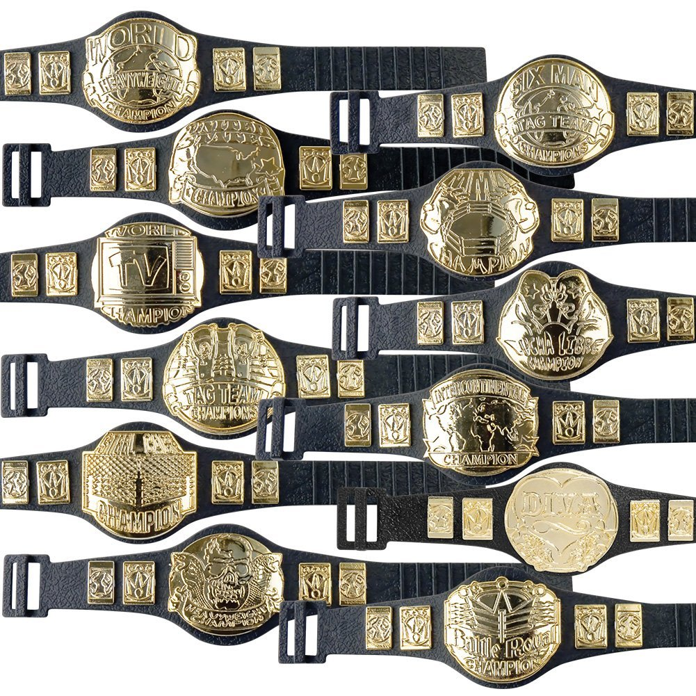 Complete Set of 12 Championship Belts for WWE Wrestling Action Figures (series 1) by