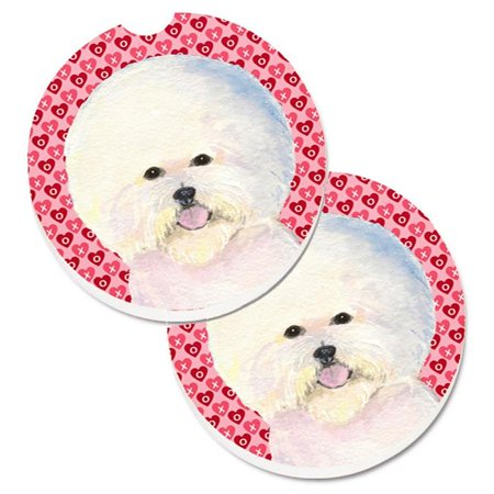 Bichon Frise Hearts Love & Valentines Day Portrait Set of 2 Cup Holder Car Coaster - image 1 de 1
