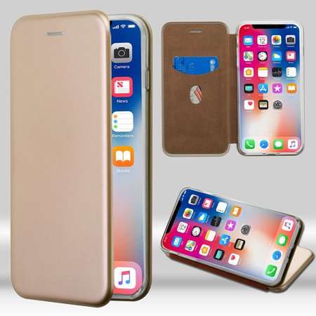iPhone X Case, by Insten Executive Protector Stand Folio Flip Hard Plastic/Soft TPU Rubber with Card Holder Slot Case Cover For Apple iPhone X, Gold+ BasAcc Charger Cable Charging Cord