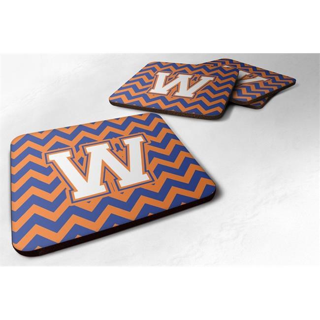 Carolines Treasures CJ1060-WFC Letter W Chevron Blue & Orange No.3 Foam Coaster, Set of 4 - image 1 de 1
