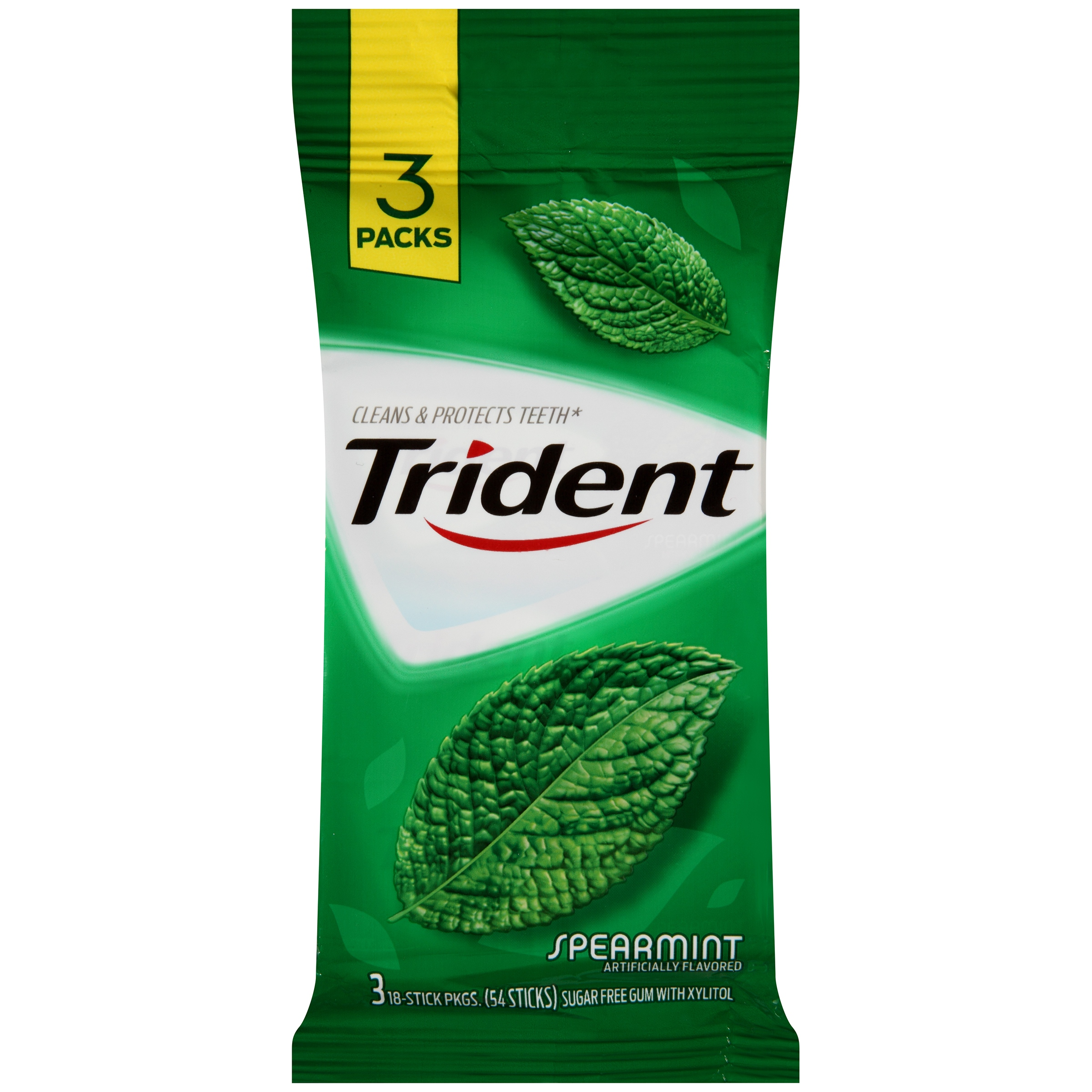 Mondelez Global LLC Kraft Foods, Inc. Trident Spearmint Sugar Free Gum -  3 Pk, 3.0 Pack