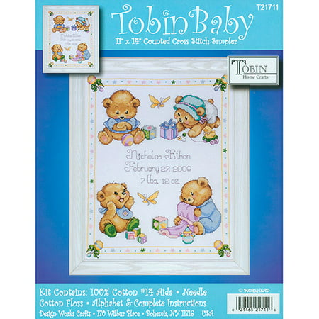 "Tobin Baby Bears Birth Record Counted Cross Stitch Kit, 11"" x 14"", 14 Count"