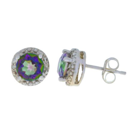 2 Ct Natural Mystic Topaz & Diamond Round Stud Earrings 14Kt White Gold Natural Citrine Earring