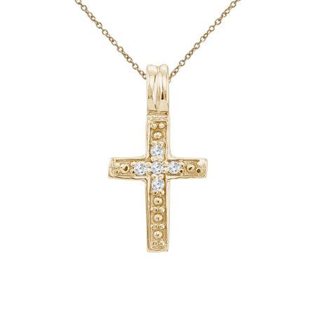 14K Yellow Gold Small Diamond Cross Pendant with 18