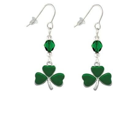Large Green Shamrock Green Bead French Earrings