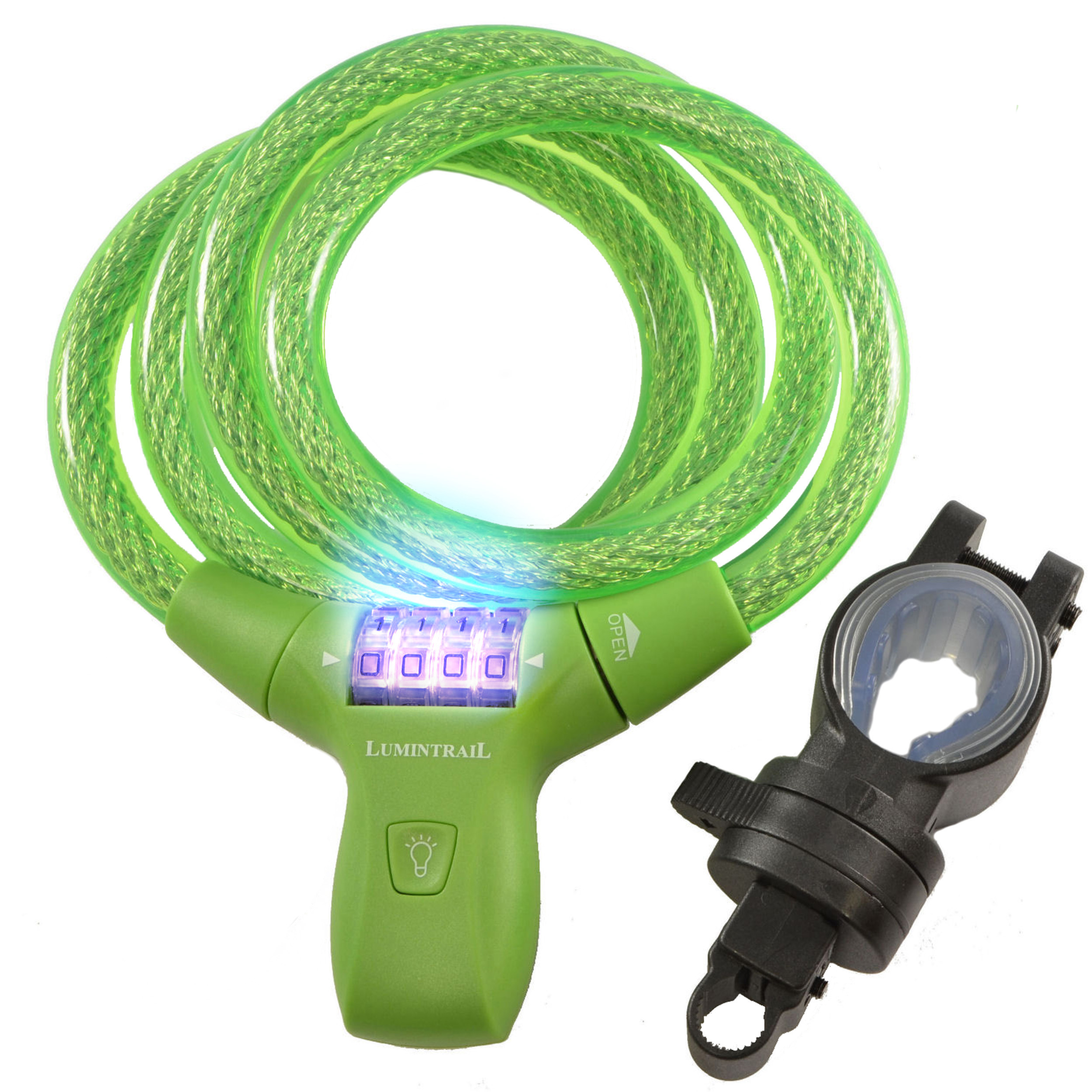 Lumintrail LK21051 Bike Combination Cable Lock w/ LED Illumination & Mounting Bracket GREEN