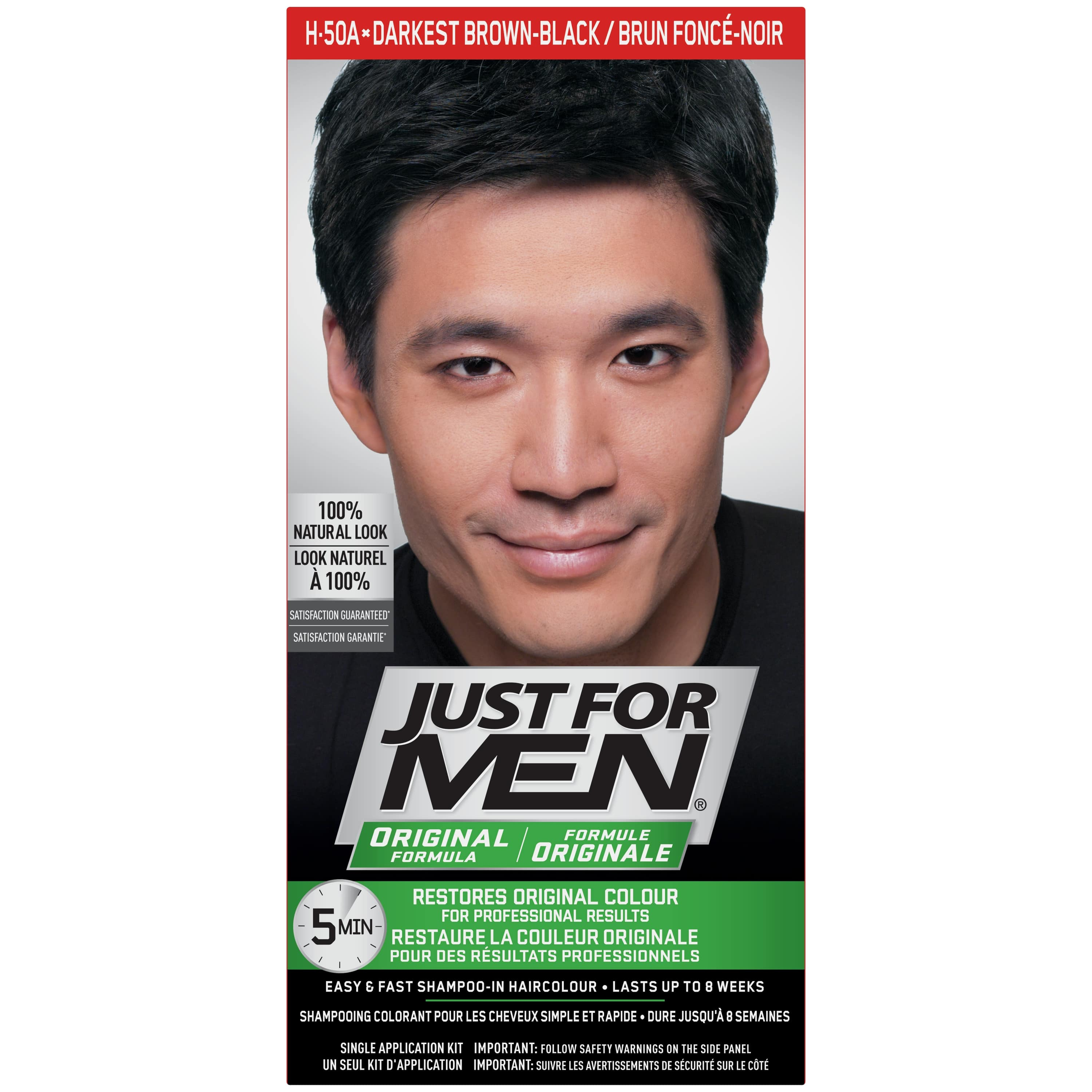 Just for Men Original Formula, Easy and Fast Shampoo-In Men's Hair Color, Medium Brown, Shade H-35