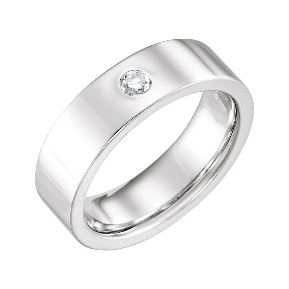 Platinum 1 10 Ct Diamond Gypsy Set 6mm Flat Comfort Fit Anniversary Wedding Men Gents Band Size 11.5 by