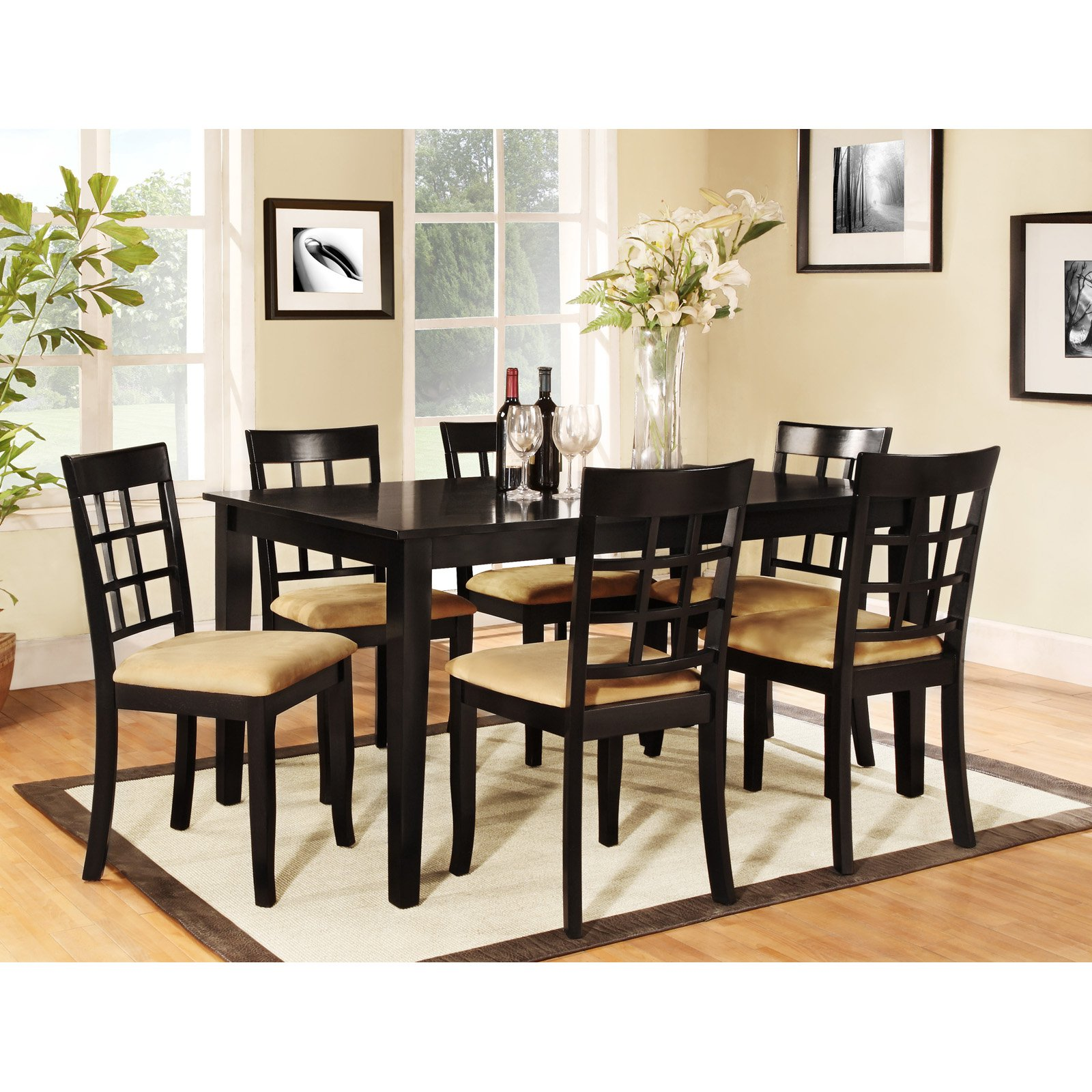 Homelegance Tibalt 7 pc. Rectangle Black Dining Table Set - 60 in. with 6 Window Back Chairs