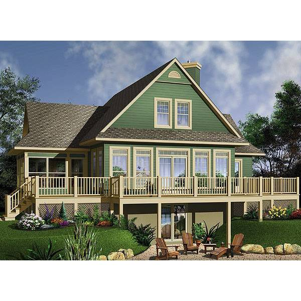TheHouseDesigners-1150 Cottage House Plan with Walkout Basement (5 Printed Sets)