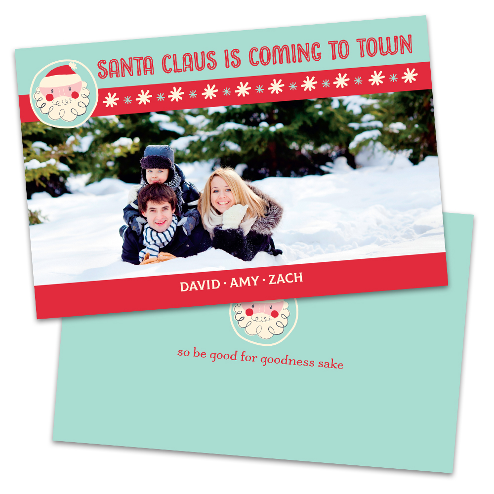 Personalized Santa Claus is Coming to Town Christmas Card