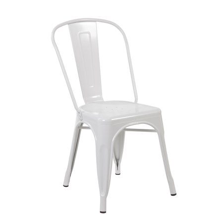 (Set of 4 Metal Stackable Industrial Chic Bistro Café Side Chairs, Matte White)