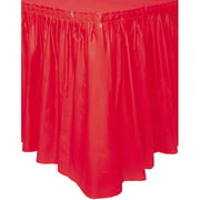 Plastic Table Skirt, 14 ft, Red, 1ct