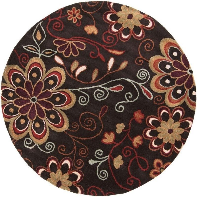 Surya Athena 4' x 4' Round Hand Tufted Wool Rug in Brown
