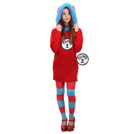 Dr Seuss Cat in the Hat Thing 1 & 2 Adult Costume Hooded Dress