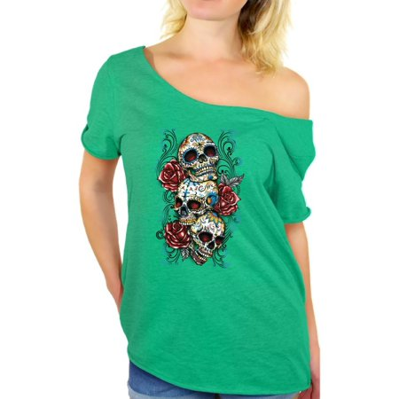 Awkward Styles off the shoulder top t-shirt skull shirts womens day of the dead costume t shirt dia de Los Muertos costume t shirt candy skull sugar skull costume t shirt skull for women Mexican](Day Of The Dead Women)