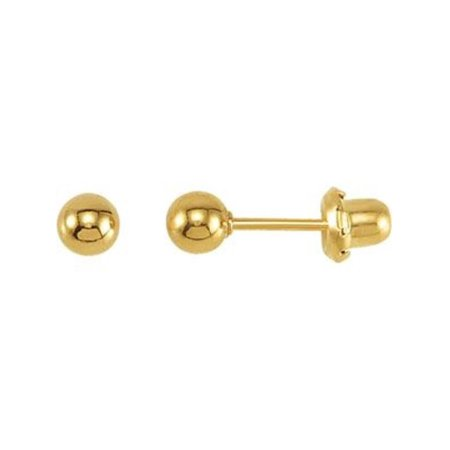 4mm Ball Piercing Earrings - 24k Yellow Gold Plated