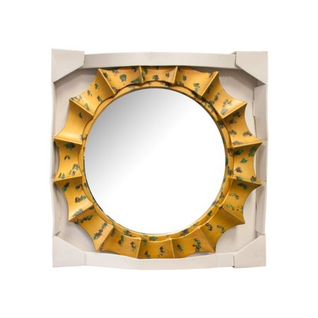 Round Sunburst Mirror with Gold and Green Frame - Walmart.com