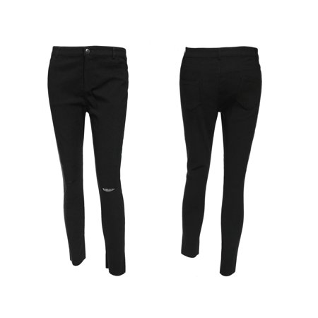 73273c430ad0ac Women Distressed Knee Hole Ripped Stretch Jeans Skinny Pants,Black -  Walmart.com