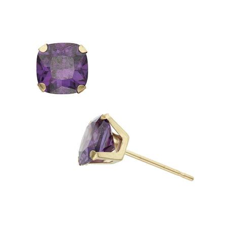 2 Carat T.G.W. Amethyst 10kt Yellow Gold 6mm x 6mm Cushion-Cut Post Earrings Avon Amethyst Earrings