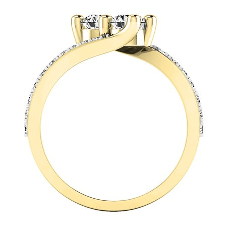 Dazzlingrock Collection 1.50 Carat (ctw) 14K White Cubic Zirconia CZ Two Stone Bridal Ring 1 1/2 CT, Yellow Gold, Size 7