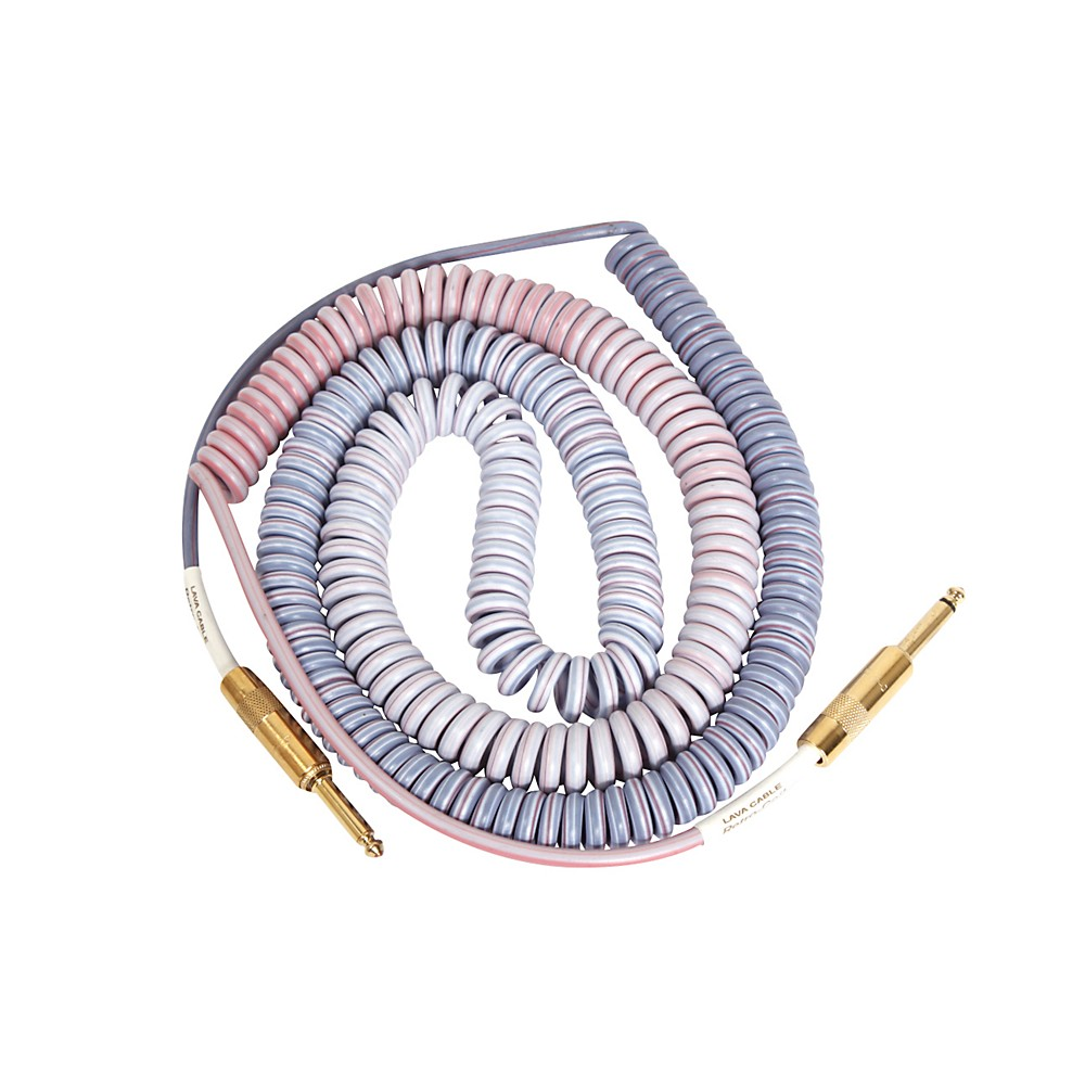 Lava Morph Coil Instrument Cable Straight Silent to Straight Reds, Pinks, Brown, Blue 25 ft.