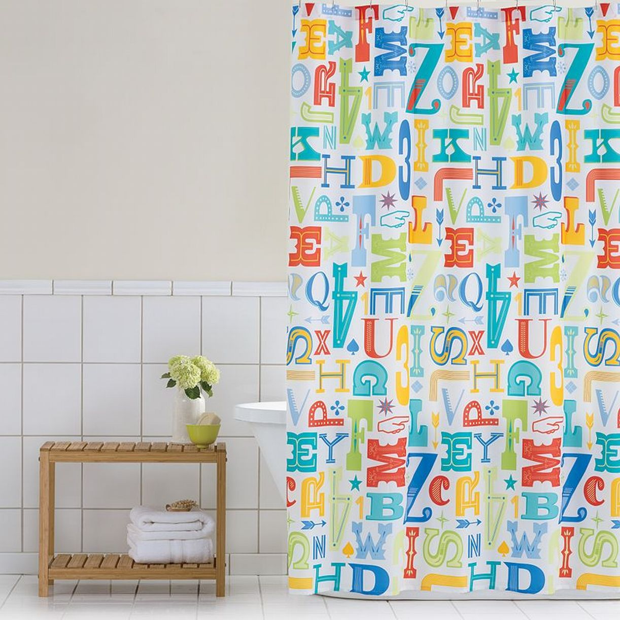 Home Classics ABC Lettr Press PEVA Vinyl Shower Curtain Alphabet Bath Decor