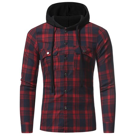Men's Flannel Plaid Double Pockets Hooded Shirt Casual Leisure Checked Pattern Long-sleeved (Double Cargo Pocket Shirt)