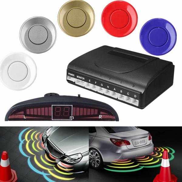 8 Parking Black Sensors LED Car Auto Backup Reverse Rear Radar System Alert Alarm Kit