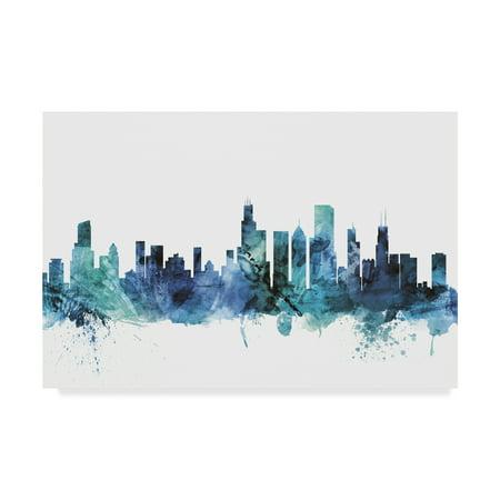 Trademark Fine Art 'Chicago Illinois Blue Teal Skyline' Canvas Art by Michael Tompsett ()