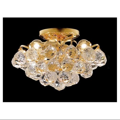 elegant lighting 2001f12g/rc godiva 7-inch high 4-light flush mount, gold finish with crystal (clear) royal cut rc crystal