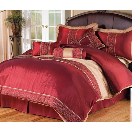 Discontinued 7 Pc Comforter Set Red Gold Queen