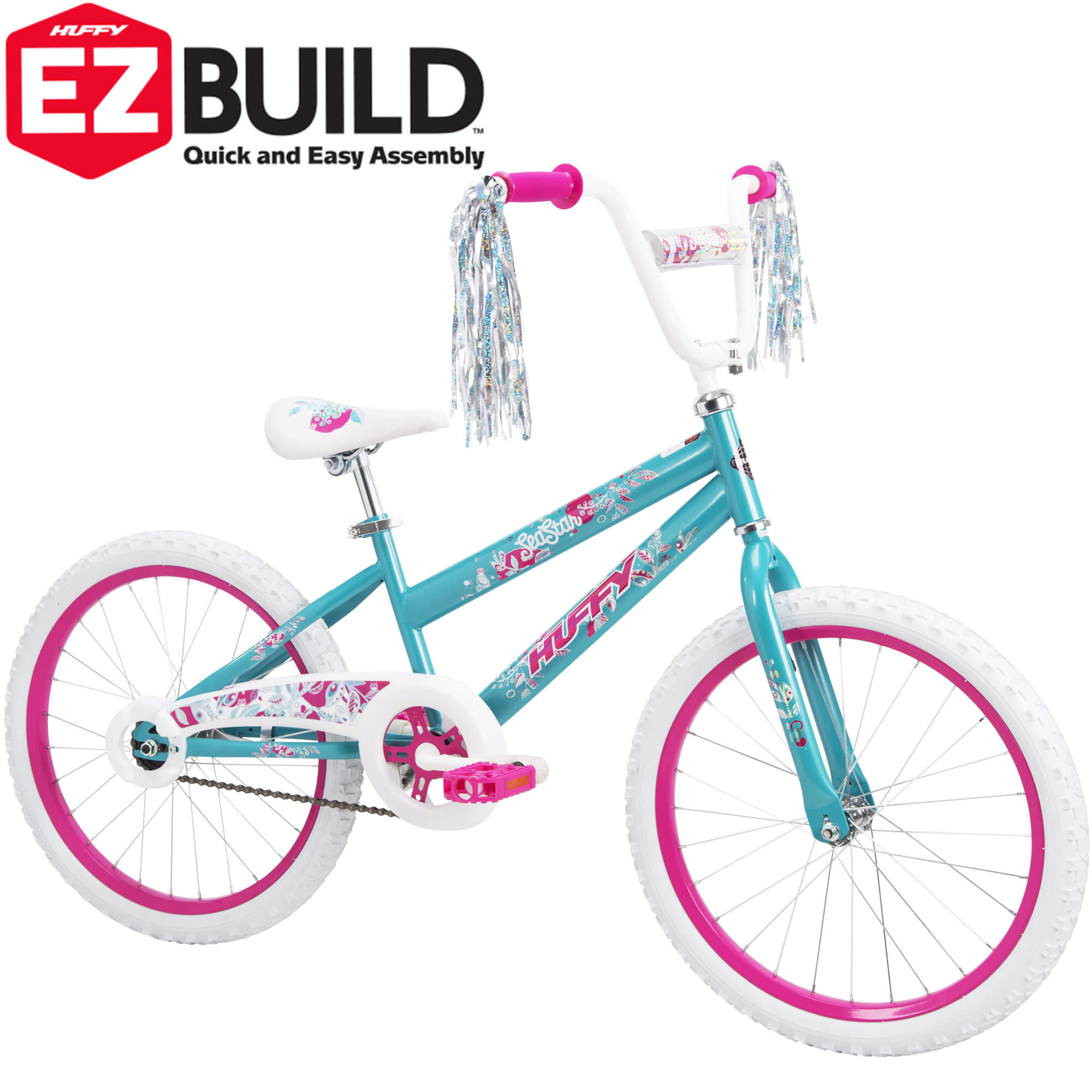 "Huffy 20"" Sea Star EZ Build Girls' Bike, Blue"