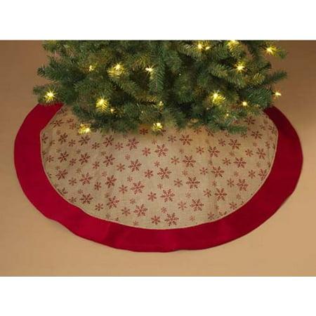 Red Glitter Snowflake Burlap Christmas Tree Skirt 48 Inch Diameter Decoration