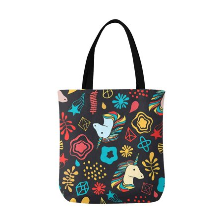 HATIART Unicorns, Pattern Reusable Grocery Bags Shopping Bag Canvas Tote Bag Shoulder Bag - image 1 of 3