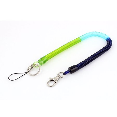 Blue Green Plastic Lobster Clasp Stretchy Spring Coil Cord Keychain Strap String - image 2 of 2