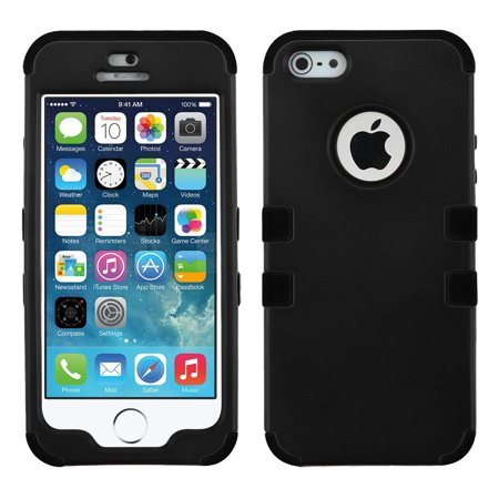 Insten Black/Black Stylish TUFF Hybrid Rugged Shockproof Phone Hard Snap-On Case Cover For APPLE iPhone SE 5S 5 Black Snap Hard Case