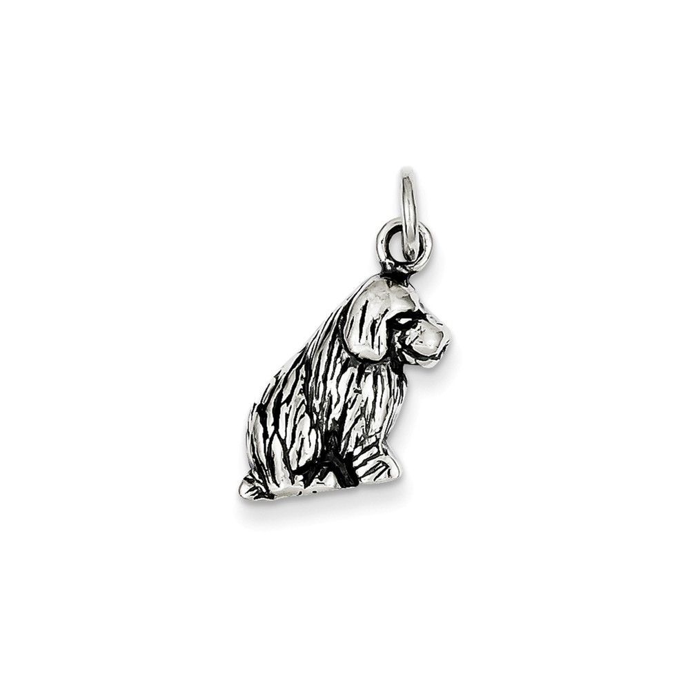 Sterling Silver Dog Charm (0.7in long x 0.5in wide)