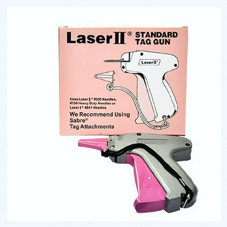 Tagging Gun - LASER II STANDARD TAG GUN Tagging Gun - LASER II STANDARD TAG GUN Tagging Gun-Pistol Grip Dennison Compatible #300 Needles, #700 Heavy Duty Needles or LASER II #841 Needles We Recommend Using Sabre Tags Attachments. Most efficient gun used to attach tags or price tickets to clothes of fashionable items.